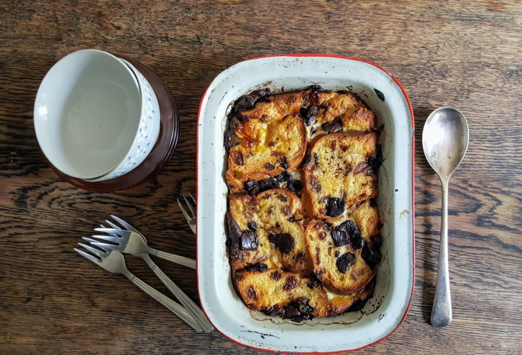 Bibliocook.com - chocolate barm brack and butter pudding