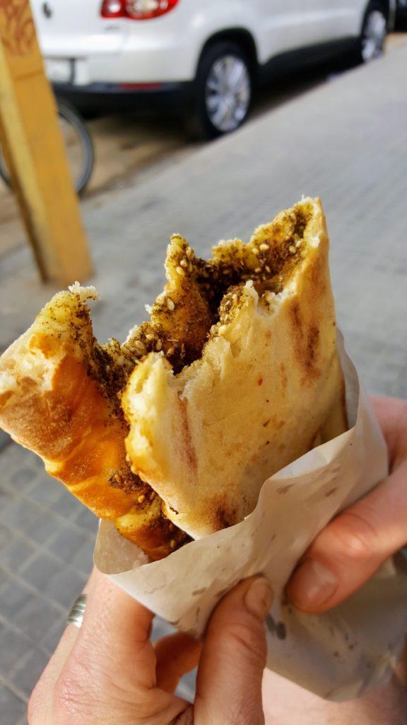 Bibliocook.com - March 2018 - manoushe flatbread with za'atar, Mar Mikhael, Beirut